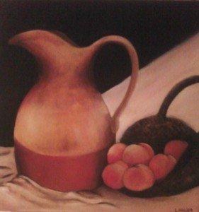Pot et pêches dans Huiles sur toile pot-281x300