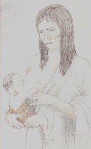 Image de la maternité (crayon papier-sanguine) dans Ligne Claire img-185x300